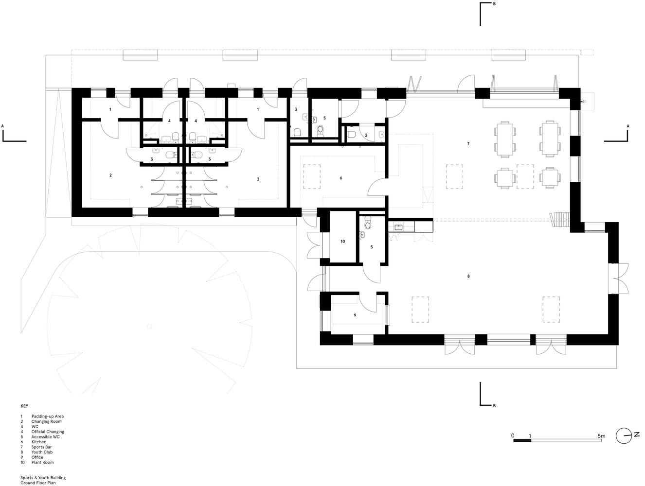 <p>Youth and Sports Pavilion Floor Plan</p>