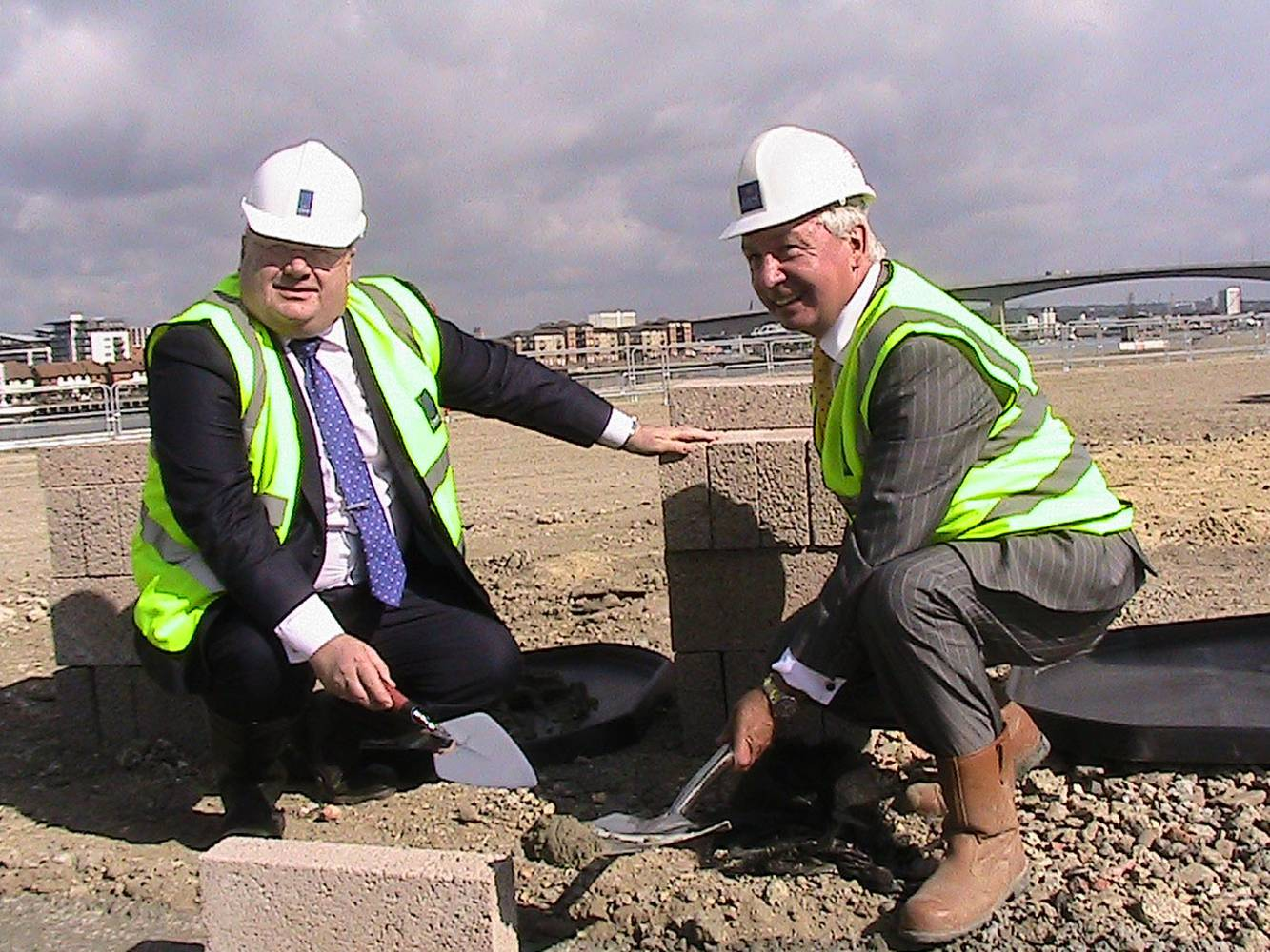 <p>Eric Pickles lays the foundations for new homes in Southampton. <em>Image credit Department for Communities and Local Government</em></p>